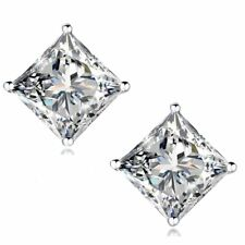 18K Gold Plated Silver Princess Cut Simulated Diamond Earrings