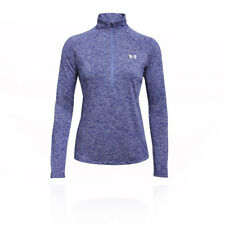 Under Armour Womens Tech 1/2 Twist Zip Top Purple Sports Running Half Breathable
