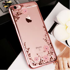 Bling Floral Silicon Case For iPhone 4 5 5s 6 6s 7 8 Plus X SE Luxury Rhinestone