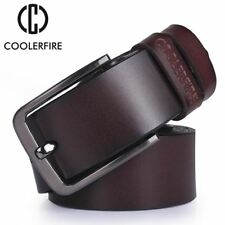 men's leather belt luxury strap fashion vintage pin buckle for jeans