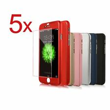 5x Funda 360° hibrida para Iphone 7 7 Plus 8 8 Plus + Cristal Templado Colores