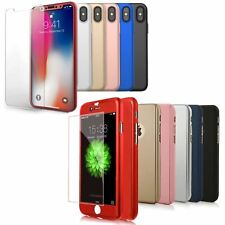 Funda 360° hibrida para Iphone 5 6 6s 7 8 X + Cristal Templado Colores