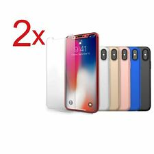 2x Funda 360° hibrida para Iphone 5 6 7 8 X + Cristal Templado Colores