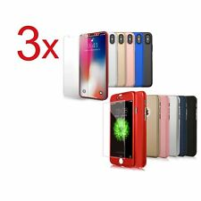 3x Funda 360° hibrida para Iphone 5 6 6s 7 8 X + Cristal Templado Colores