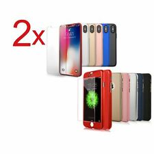 2x Funda 360° hibrida para Iphone 8 8 Plus 10 X + Cristal Templado Colores