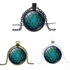 DR7 Retro Flower of Life Glass Cabochon Pendant Charm Women Necklace Jewelry Lat