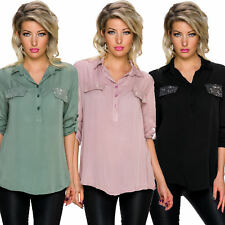 Ladies Blouse Shirt Open Collar Gymnastic Up Sleeves Sequin Top Tunic 34 36