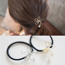 Fashion Lady Girl Pearl Wire Flower Ponytail Holder Scrunchy Hair Rope Elastic
