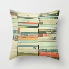 Throw Cushion Home Decor Pillow Cover Case Double Sided Books Library