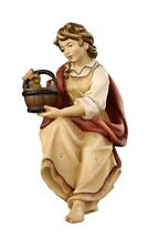 Shepherdess for well, statue wood carving for Nativity set mod. 912