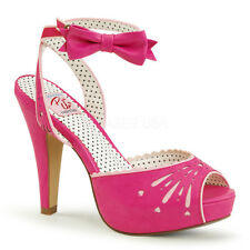 Sandali Scarpe Donna Fucsia Pelle Tacco Alto 12 Plateau Pin Up Pleaser BETTIE-01