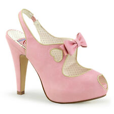 Sandali Scarpe Donna Rosa Pelle Tacco Alto 12 Plateau Pin Up Pleaser BETTIE-03