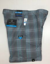 Uomo PGA TOUR Pantaloncini da golf, espandibile Cintura, Plaid Quiet Shade ,