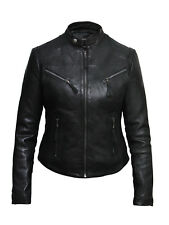 Brandslock Ladies Genuine Leather Biker Jacket Slim Fit Vintage Distressed
