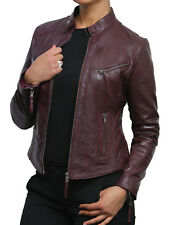 Brandslock Ladies Genuine Leather Biker Jacket Slim Fit Burgundy