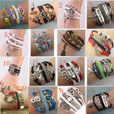 Newly Vintage Handmade Infinity Antique Silver Friendship Charm Leather Bracelet