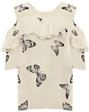 Plus Size Ladies Cold Shoulder Short Sleeve Chiffon Butterfly Summer Top Blouse
