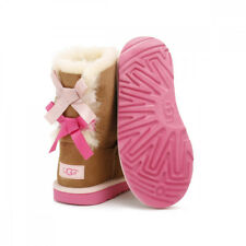 UGG Kids Chestnut Brown / Pink Azalea Bailey Bow II Boots Size 1 to 13