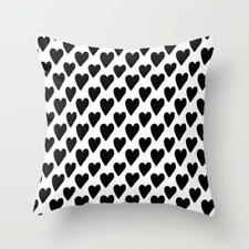 Throw Cushion Home Decor Pillow Cover Case Double Sided Black White Hearts