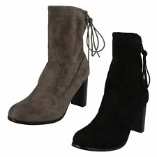 Ladies Spot On Chunky Block Heel High Ankle Boots