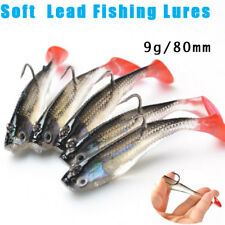 5Pcs/Lot 3D Eyes Lead Fishing Lures With T Tail Soft Fishing Lure Single Hook