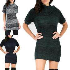 Womens Ladies Marl Knitted Cowl High Polo Neck Tunic Bodycon Jumper Mini Dress
