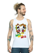 Disney Hombre Mickey and Minnie Mouse Hippie Love Camiseta Sin Mangas
