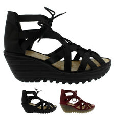 Womens Fly London Yeli Colmar Leather Cut Out Wedges Summer Sandals Shoes UK 3-9