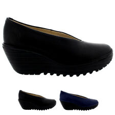 Ladies Fly London Yaz Mousse Shoes Pumps Smart Casual Mid Wedges Shoes All Sizes