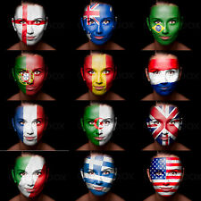 World Cup Football Face Paint ALL FLAGS England Brazil France Spain Italy + more