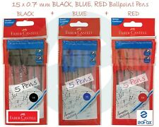 0.7mm FABER CASTELL FX5 BLACK RED BLUE Ballpoint Pens Smudge Free Smooth Writing