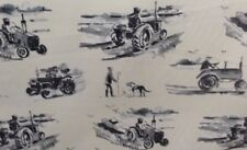Harvest Tractors Charcoal Grey/ White Cotton Curtain/Craft Fabric