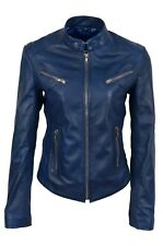 New Luxury Ladies Leather Jacket Blue Real Soft Nappa Leather Biker Style Design