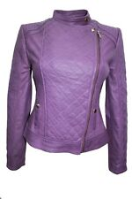 New Luxury Ladies Jacket Purple Real Soft Nappa Leather Casual Fit Style Design