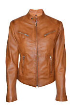 New Luxury Ladies Leather Jacket Tan Real Soft Nappa Leather Biker Style Design