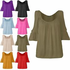 Womens Ladies Ruched Cut Scoop Neck Cold Shoulder Frill 3/4 Sleeve Stretchy Top