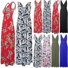 Womens Ladies V Neck Knot Strappy Printed Sleeveless Wrap Over Casual Maxi Dress