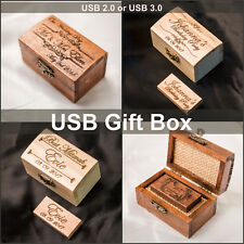 Wooden USB2 USB3.0 Stick 8GB-128GB Personalised Engraved+Box Wedding Photography