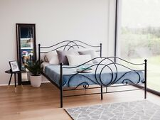 Designer Metal Bed Black with Slatted Frame Bedframe 160 180 X200