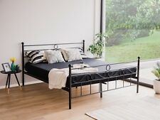 Designer Metal Bed Black with Slatted Frame Bedframe 160 180 cm