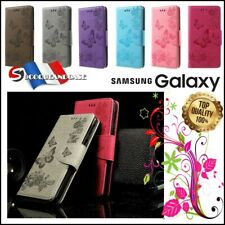 Etui coque housse Papillons PU Leather case cover pour Samsung Galaxy All Models