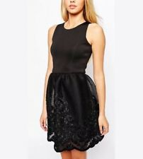 Lipsy Black Dress with Lace Embroidered Skirt Sizes 10 12 BNWT Prom Cocktail