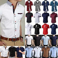da uomo a maniche corte Camicia button down slim abiti cerimonia business Casual