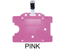 Pink ID Badge Card Holder Work Pass Tag Single Sided Landscape Metal Clasp Clip