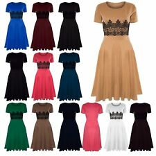 Womens Plus Size Short Sleeve Waist Lace Flared Franki Ladies Skater Midi Dress