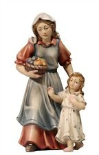 Shepherdess with girl, statue wood carving for Nativity set mod. 912