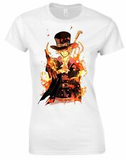 MAGLIETTA T-SHIRT S M L XL DONNA  ONE PIECE ACE RUFY LUFFY SANJI CHOPPER ZORO