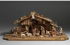 Nativity set 15 pcs. with hut, statue wood carving for Nativity set mod. 912