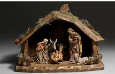 Nativity set 8 pcs. with hut, statue wood carving for Nativity set mod. 912