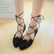 Women Fashion Casual Pointy Toe Wrap Lace Up Flats Strappy Ballet Flat Shoes New